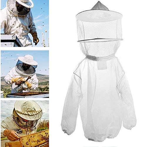 Nuluxi Imkerjacke mit Hut Imkerbekleidung Imker Bienenzüchter Professionel Schutzbekleidung mit Reißverschluss Unisex Bienenschutz Hut Bienenanzug Geeignet für Bienenzüchter und Bee Keepers (Weiß)
