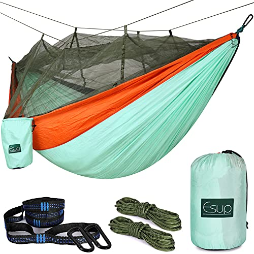Esup Double Camping Hammock with Mosquito Net -Lightweight Nylon Portable Hammock, Best Parachute Hammock with Tree Straps for Backpacking, Camping, Travel (Green/Blue/Orange)