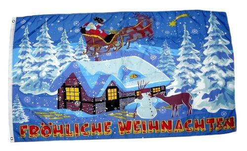 Fahne / Flagge Fröhliche Weihnachten Schlitten 90 x 150 cm