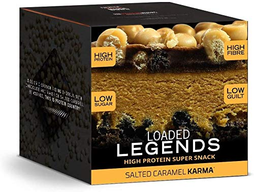 THE PROTEIN WORKS Loaded Legends Protein Bars   High Protein, Low Sugar Snack   High Fibre   Salted Caramel Karma   Box of 12