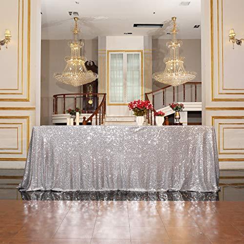 Eternal Beauty Pailletten-Tischdecken, Hochzeit, Halloween, Weihnachten, Party, Bankett, silber, 122*183cm