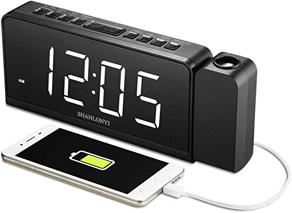 SHANLONYI Projection Alarm Clock Radio With AM FM Time Projector Mobile Device USB Charging Station Large 7 LED Display Dual Alarm Battery Backup