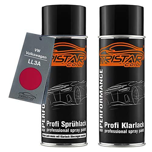 TRISTARcolor Autolack Spraydosen Set für VW/Volkswagen LL3A Rot Basislack Klarlack Sprühdose 400ml