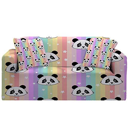 Fundas Decorativas para Sofás,Simplicidad Moderna Elastica Funda de Sofa 1/2/3/4 Plazas Antideslizante Funda Protectora para Sofá(Cabeza de Panda impresión en Color
