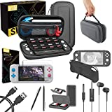 Orzly Switch Lite Accessories Bundle - Case & Screen Protector for Nintendo Switch Lite Console, USB Cable, Games Holder, Comfort Grip Case, Headphones, Thumb-Grip Pack & more (Orzly Gift Pack - Grey)