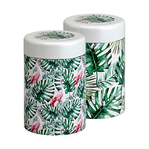 EigenArt Case Series Storage Tea Canister Set Jungle Leaf and Flamingo 125 GR  44 Oz