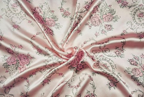 Maxfeel 100% Pure Mulberry Silk Charmuse Floral Fabric 45 Wide for Bedding Dress by The Yard or by Half Yard (Sold by Half a Yard, 37)