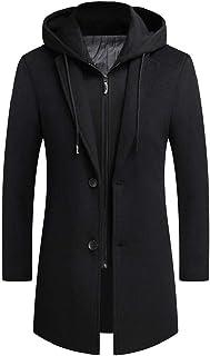 MogogNMen Solid Hoodie Faux Twinset Removable Mid-Length Slim Woolen Long Coat