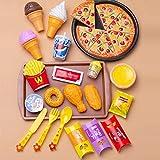 SKY TEARS Küche Essen Spielzeug Rollenspiel Lebensmittel Spielzeug Set Spielzeug Küche Pizza Pädagogisches Rollenspiele Geschenk für Jungen/Mädchen (Bunt-27 Sätze)