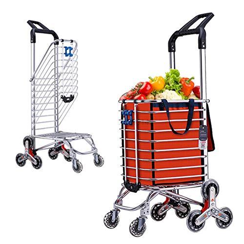 XLBHSH Carros de Compras Plegables, carros de Compras, carritos de Compras, carros de Mercado, carros de Compras robustos y estables y ayudas de Movilidad 8 Ruedas,Naranja