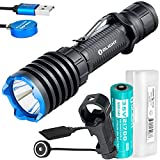 Olight Warrior X Pro 2100 Lumen Rechargeable Tactical 546 Yard Long Throw Flashlight with Custom 5000mAh Rechargeable Battery, Magnetic Pressure Switch, EWM25 Pic Mount, and LumenTac Battery Case