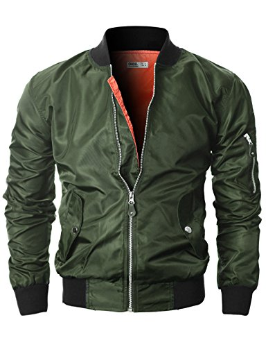 Ohoo Mens MA-1 Flight Windbreaker Jacket With Snap Button POCKET/DCJ004-KHAKI-2XL