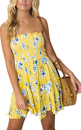 Angashion Women's Floral Strapless Pleated Flowy Skater Mini Tube Dress Yellow