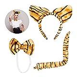 Relaxdays Orejas Tigre 3 Uds, Diadema, Pajarita y Cola, Disfraz Carnaval, para Niños y Adulto, Poliéster, Tiras Marrones, 1 Set