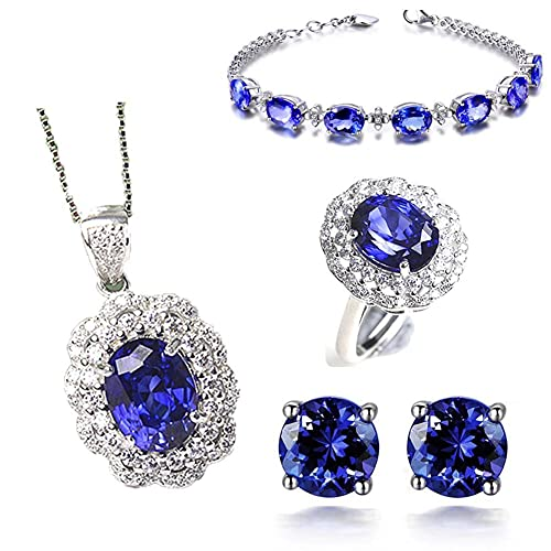 Women's Jewelry Sets Diamond Jewelry Set Wedding Jewelry Sets for Women Bridal Jewelry Set with Necklace Bracelet Earring and Ring Women Fashion Jewelry for Wedding, Party, Casual Wear