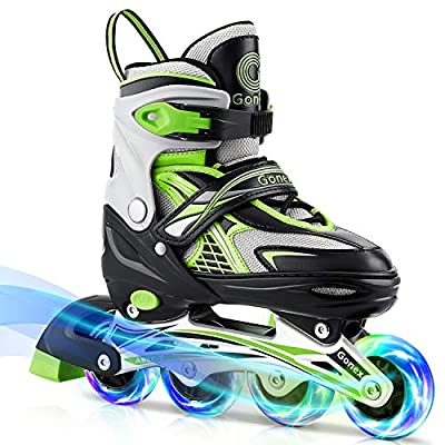 Gonex Inline Skates for Girls Boys Kids, Adjustable Skates Outdoor Blades Inline Roller Skates for Teens Women with Light Up Wheels for Indoor Outdoor Backyard Skating, Green M
