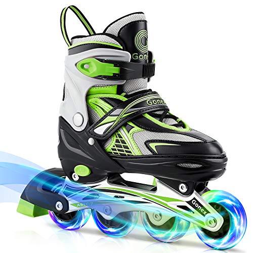 Gonex Inline Skates for Girls Boys Kids, Adjustable Skates Outdoor Blades Inline Roller Skates for Children Teens Women with Light Up Wheels for Indoor Outdoor Backyard Skating, Green M