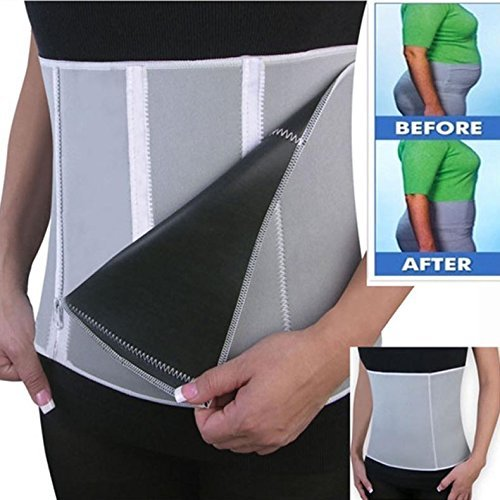 Cooltechstuff - Nieuwe Verstelbare Sauna Afslanken Taille Belt Burn Belly Fitness Lichaam Fat Cellulite Brander Shaper Voor Vrouwen Mannen Met 5 Rits Wrap