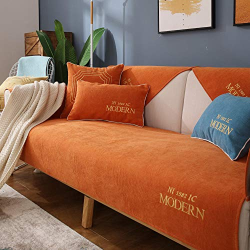 Suuki Living Room Slipcovers,Furniture Cover,High-end embroidered couch cover throw, modern L-shaped sofa cushion covers, summer autumn anti-skid Furniture Cover, fabric slipcover-orang_110*180cm