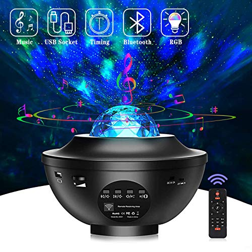 Alijees Star Light Projecter-in Bluetooth Ocean Wave Star Sky Night Light with Music Speaker,Sound Sensor,Timer Sleep Soothing Color Changing Lamp for Stage Bedroom Wedding Christmas Home Theatre