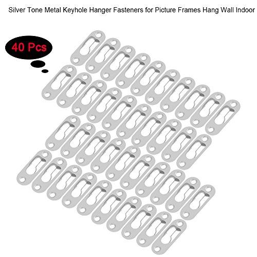 Schlüsselloch-Aufhänger, 40 Stück, silberfarben, Metall-Bilderaufhänger zum Aufhängen von Wänden und Innenräumen für Spiegel, Bilderrahmen, Verbindung