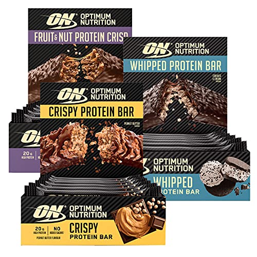 Optimum Nutrition ON Whipped Bar Barretta Proteica Cookies & Cream 10x62g + Fruit&Nut Protein Crisp Bar Senza Zucchero 10x70g + Crispy Protein Bar Burro di Arachidi 10x65g
