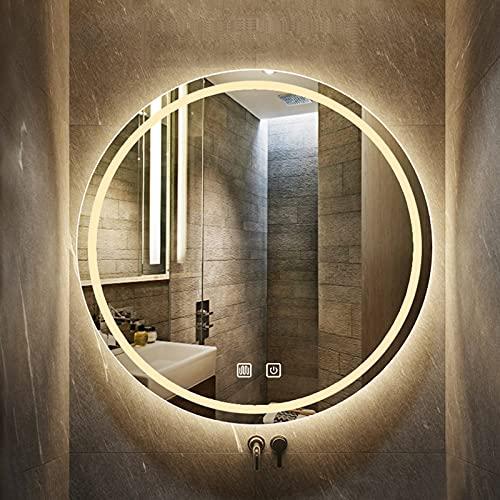 Espejo De Baño Antivaho, Espejo De Pared LED, Espejo De Pared Baño Redondo, Interruptor De Sensor Táctil+Función Antiniebla, 3 Colores De Luz: Blanco Cálido/neutral/blanco Frío, Con Forma Circular Mon