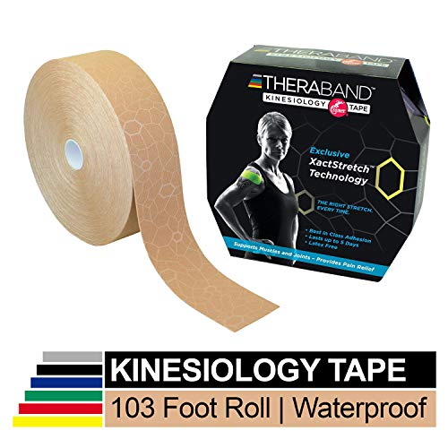 TheraBand Kinesiology Tape, Waterproof Physio Tape for Pain Relief, Muscle & Joint Support, Standard Roll with XactStretch Application Indicators, 2 Inch x 103.3 Foot Bulk Roll, Beige/Beige