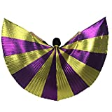 MUNAFIE Belly Dance Isis Wings with Sticks for Adult Belly Dance Costume Angel Wings for Halloween Carnival Performance Golden/Purple