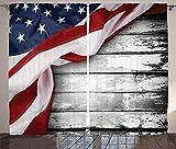 Verdunkelungsvorhänge, Wärmeisolierung/Wärme im Winter, können Innenmöbel schützen & ultraviolette Strahlung reduzieren Design der amerikanischen Flagge des schäbigen grauen Holzbretts