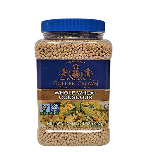Golden Crown Whole Wheat Couscous - NON GMO Kosher Certified 100% Natural Whole Wheat Couscous for Soups Side Dishes Mediterranean & More - 32 Oz