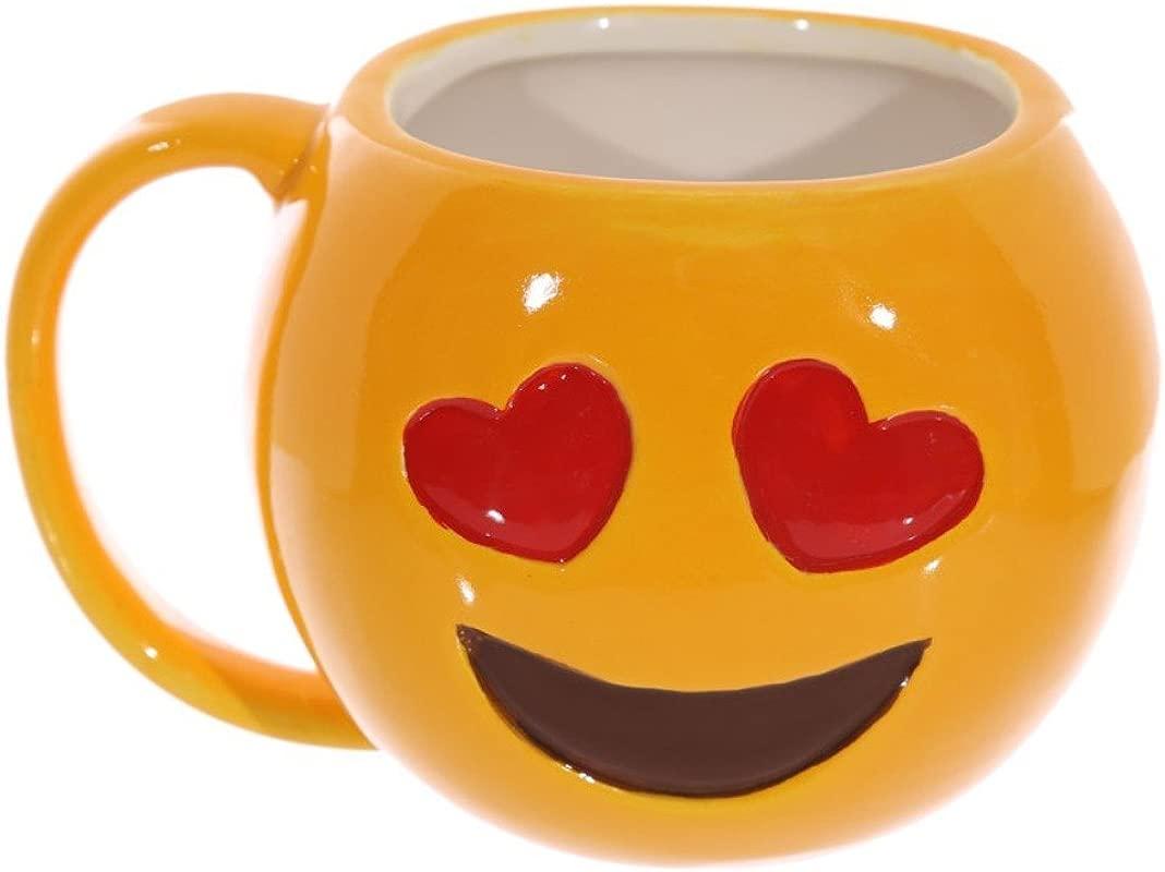 Puckator Emoji Love Hearts Omg Ceramic Coffee Mug