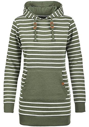 Blend SHE Cloey Damen Kapuzenpullover Hoodie Long Sweatshirt mit Fleece-Innenseite Longline Sweat-Kleid aus hochwertiger Baumwollmischung, Größe:M, Farbe:Ivy Green (77026)