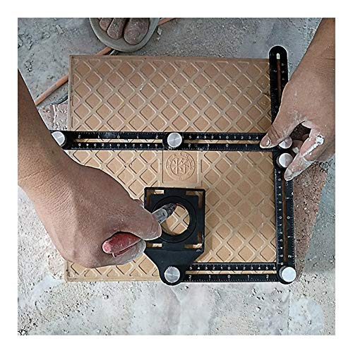 NOLOGO KYT-My 2019 BAU-Multi-Angle Messlineal Aluminium Folding Positionierung Lineal Beruf DIY Holzfliese Bodenbelag Werkzeug