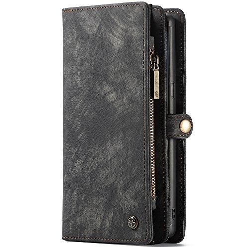 CaseMe Samsung Galaxy Note 8 Leder Case Hülle mit Kartenfächer Geldscheinfach mit Reißverschluss Magnet Handy Schutzhülle, Grau