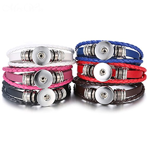 Lovglisten 6pcs Leather Bracelet Bangle for 18mm Snap Button Jewelry (1)
