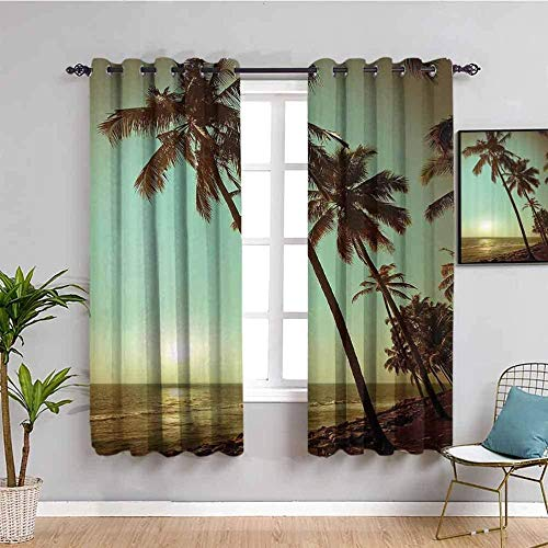 JYDFC Blackout Curtains for Bedroom Kids - Thermal Insulation Noise Reduction - Restaurant Bedroom Guest Room Decoration - 2 Pieces - 72X63 Inch - Sky Sea Plants Beach