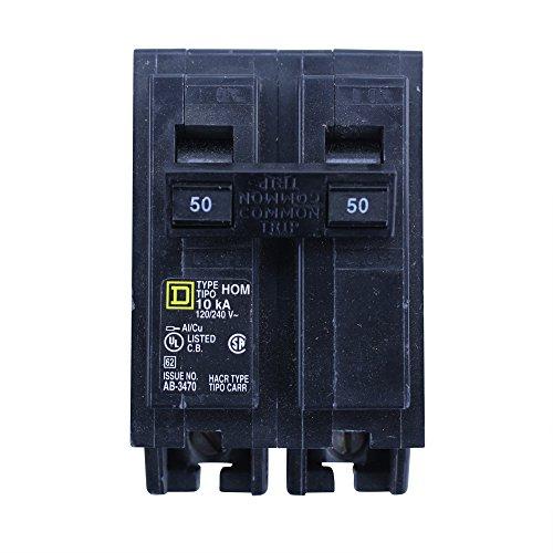 Square D Homeline HOM250 Miniature Circuit Breaker, 120/240 VAC, 50 A, 10 kA, 2 Poles, Thermal Magnetic Trip