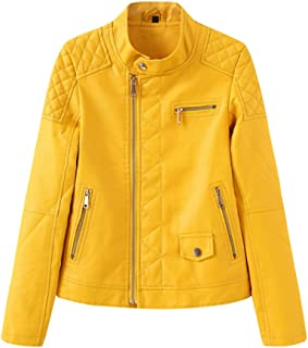 Women's Faux Leather Motorcycle Jacket, Women's Imitation Leather Casual Jacket, Spring and Autumn Winter S-XXL,Yellow,XXL