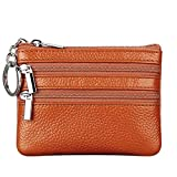 Women's Genuine Leather Coin Purse Mini Pouch Change Wallet with Key Ring,brown