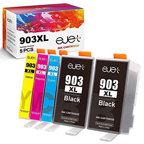 ejet compatibele vervanging voor HP 903XL 903 inktcartridges cartridges compatibel met HP Officejet Pro 6950 6960 6970 All-in-One printer (2 zwart/1 cyaan/1 magenta/1 geel, 5-pack) 5 Pack 2 zwart/1 cyaan/1 magenta/1 geel.