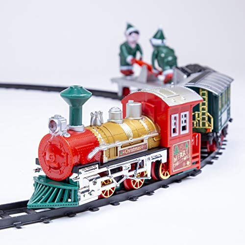 The Christmas Workshop 70139 Animated Elf Christmas Train Set | 400CM Length Track | Realistic Sounds & Light | 16 Piece Set | Battery Operated