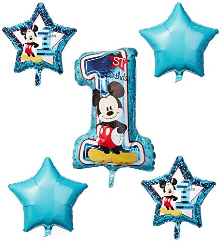 amscan 3434101 Disney Mickey & Friends - Ramo de globos con diseño de Mickey Mouse, 5 unidades