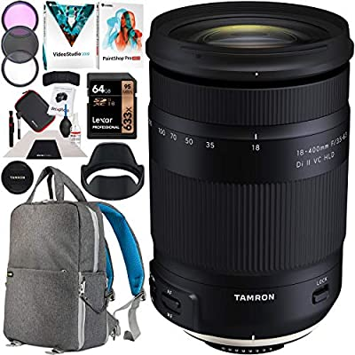 Tamron 18-400 Di II VC HLD Model B028 Ultra Telephoto High Power All in One Zoom Lens for Nikon Mount DSLR Cameras Bundle with 72mm Filter Set + Deco Gear Backpack Case and Photo Video Software Kit from Tamron