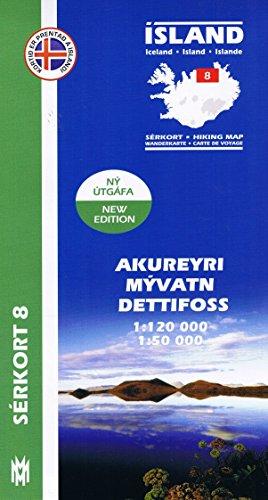 Serkort 8: Akureyri, Myvatn, Dettifoss ( Nord-Island) Island Trekkingkarte 1:120.000 mit Detailwanderkarte 1:50.000