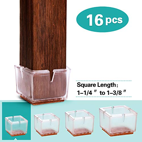 MelonBoat Chair Leg Floor Protectors with Felt Furniture Pads, Chair Glides Feet Caps, A-SQ033, 16 Pack, Fit Square Length 1-1/4 inches to 1-3/8 inches (3.2-3.5cm)