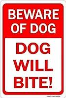 猛犬注意犬が噛むことに注意してください!金属スズサイン通知街路交通危険警告耐久性、防水性、防錆性