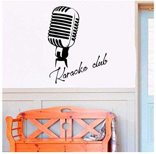Retro Vinyl Muursticker Microfoon Karaoke Club Signboard Logo Stickers Huisdecoratie Woonkamer Slaapkamer Vinyl Art Mural57X74Cm