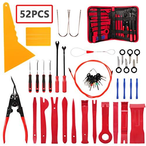 AUTDER Demontage Werkzeug Auto zierleisten Ausbauwerkzeug 52 Stücke Zierleistenkeile-Set Türverkleidung Befestigung Clips Ausbauwerkzeug Pry Tool Kit mit Aufbewahrungstasche MEHRWEG