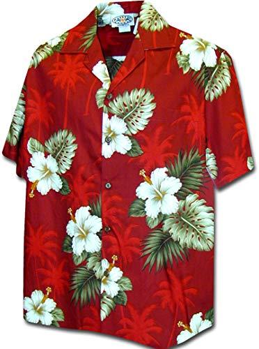 Pacific Legend Hawaiian Shirts Hibiscus Island in Red XL 410-2798